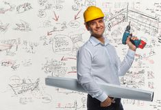 Engineer worker with drawning tube. Royalty Free Stock Images