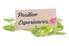 Positive experiences. Text on card with dried flower isolated on white background Royalty Free Stock Photo