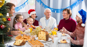 Positive family members making conversation Stock Photography