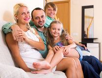 Positive family with two kids Stock Images
