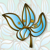 Positive fantasy blue brown flover. Vector blue brown flower  with pollen sticks Royalty Free Stock Image