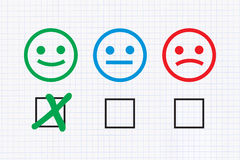 Positive feedback. Checklist with Positive feedback on graph paper background Stock Photography