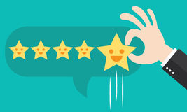 Positive feedback. Customer review give a five star in bubble box. Positive feedback concept. Vector illustration. Minimal and flat design Stock Photos