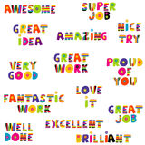 Positive feedback messages in colorful pattern Stock Image