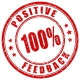 Positive feedback red grunge stamp. Isolated on white background Stock Images