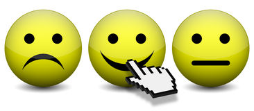 Positive feedback. Vector illustration of mouse cursor pressing positive feedback smiling face icon Stock Photography