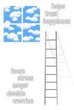 Positive feelings. Taking the ladder towards positive feelings Stock Photos