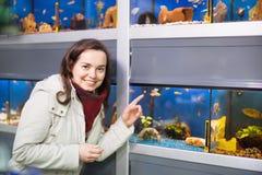 Positive female customer watching fish in aquarium tank Royalty Free Stock Photo