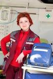 Positive female paramedic Stock Image