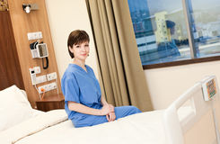 Female patient hospital bed royalty free stock photos