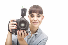 Positive Female Professional Photorgapher Stock Photography
