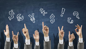 Positive financial dynamics. Close of hands in row showing different gestures Stock Photo
