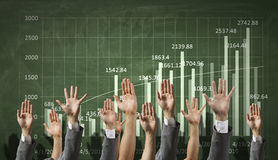 Positive financial dynamics. Close of hands in row showing different gestures Royalty Free Stock Image