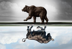 Positive Financial Outlook. Business concept as a bear casting a reflection of a forward moving bull as a hopeful forecast in stock market investing in a 3d Royalty Free Stock Photo