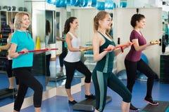 Positive Frauen, die auf aerober Schrittplattform ausarbeiten Stockfotografie