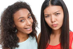 Positive friends making faces Royalty Free Stock Photos