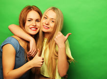 Positive friends portrait of two happy  girls - funny faces, emo. Tions, casual style, pastel colors. Smile and say ok Stock Photo