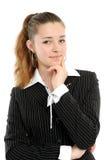 Positive Geschäftsfrau, die vorbei lächelt Stockfotos
