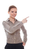 Positive Geschäftsfrau, die Ihr Produkt darstellt Stockfoto