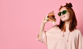 Positive ginger young woman pose for selfie, stock photography