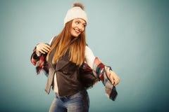 Positive girl in autumn season clothing Royalty Free Stock Photos