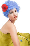 Positive girl with blue hair Royalty Free Stock Images