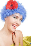 Positive girl with blue hair Stock Photography