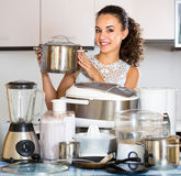 Positive girl with culinary devices posing Stock Photography