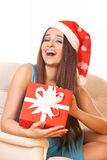 Positive girl with gift Stock Image