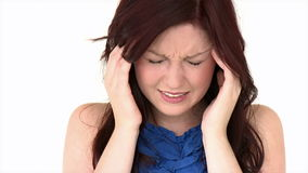 Positive girl having a headache stock footage
