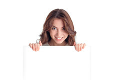 Positive girl holding white board Stock Photography