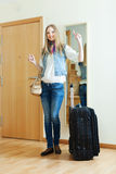 Positive girl with luggage Stock Images
