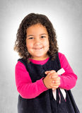Positive girl. Portrait of positive little girl with smile on her face stock photo