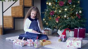 Positive girl reading a book under christmas tree stock video footage