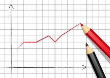 Positive graph. Positive chart with color pencils Stock Image