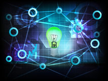 Positive green bulb in business world transfer network vector Royalty Free Stock Photography