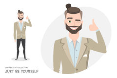 Positive guy smiling and recommended. Stock Photo