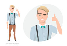 Positive guy smiling and recommended. Stock Photos