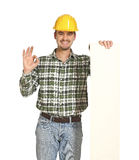 Positive handyman and bill Stock Image