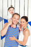 Positive Happy Family In Marine Costumes Stock Photography