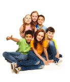 Group of happy diversity looking kids Stock Photo