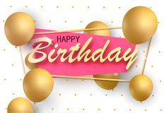 Positive holiday birthday banner with gold balloons . Vector illustration. Positive holiday birthday banner. Vector illustration eps 10 Royalty Free Stock Images