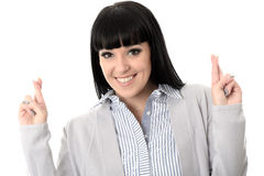 Positive Hopeful Wishful Happy Woman With Fingers Crossed Stock Photos