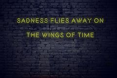 Positive inspiring quote on neon sign against brick wall sadness flies away on the wings of time vector illustration