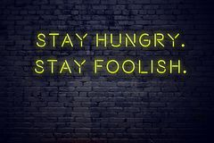 Positive inspiring quote on neon sign against brick wall stay hungry stay foolish.  stock illustration