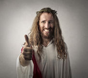 Positive Jesus. With thumbs up Stock Photo