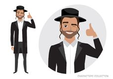 Positive jew guy smiling and recommended. Royalty Free Stock Photo