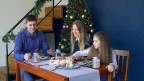 Joyful family eating christmas cookies at xmas eve stock video