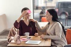 Positive joyful women enjoying their time royalty free stock photo