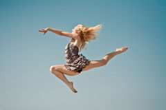 Positive jumping in sky Stock Photography